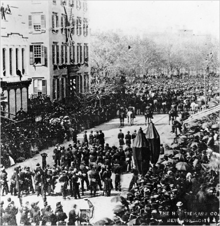 1865 - Lincoln's funeral procession; Passing the (Cornelius) Roosevelt Mansion, sw corner 14th Street, Broadway, view looking North on Broadway