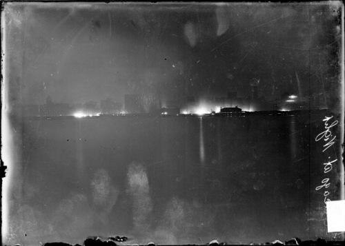 Skyline of Chicago at Night, Chicago Daily News, Inc., 1906
