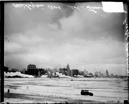 Chicago skyline looking across Grant Park, Chicago Daily News, Inc., 1925